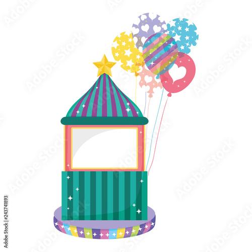 Fotografía  cute carnival kiosk with balloons helium