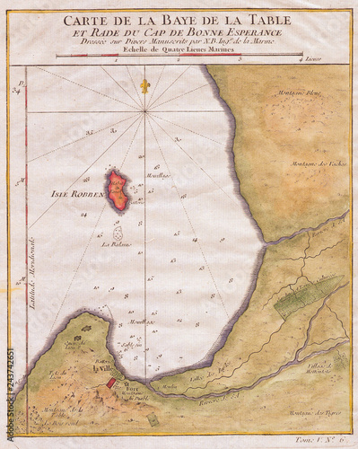 1763, Bellin Map of Cape Town, Cape of Good Hope South ...