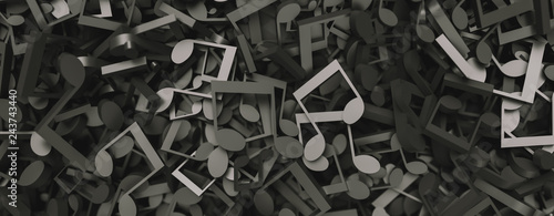 Fotomural musical notes and musical signs of abstract music sheet