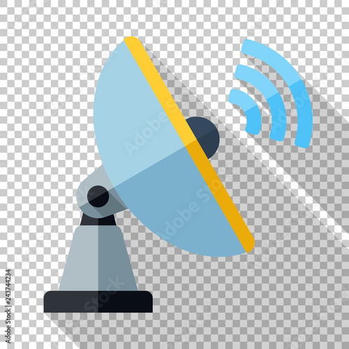 Pinturas sobre lienzo  Satellite antenna icon in flat style with long shadow on transparent background
