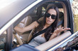 brunette shouting in the car accident