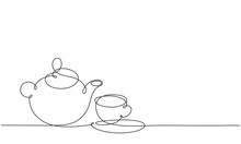 Teapot And Cup. Continuous Line Drawing.