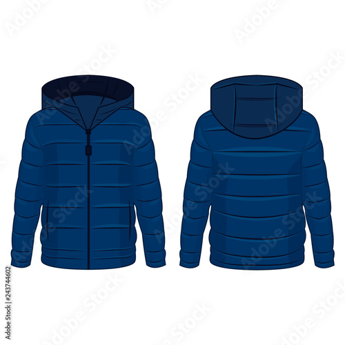 Blue winter down zipped jacket with hood isolated vector on the white background Wall mural