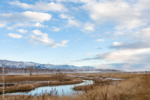 Canvas Print River in winter off Fish Slough Road in Bishop, California
