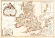 1771, Zannoni Map Of The British Isles, England, Scotland, Ireland