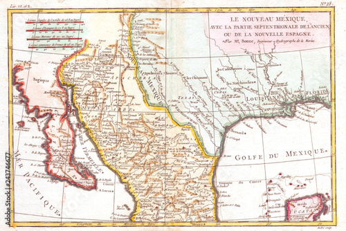 Map Of Texas And Louisiana Border.1780 Bonne Map Of Texas Louisiana And New Mexico Rigobert Bonne