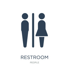 Restroom Icon Vector On White Background, Restroom Trendy Filled