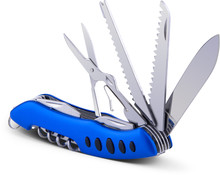 Knife Multitool With Blue Handle. Clipping