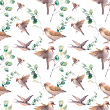 Watercolor Spring Seamless Pattern. Repeating Texture With Sparrow Birds And Green Leaves On White Background.