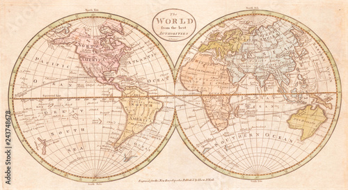 Fotografie, Obraz  Old Map of the World, Payne 1798