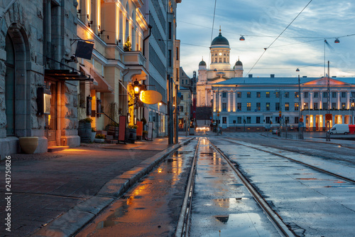 Canvas Print View of Helsinki, Finland after the rain in the early spring morning