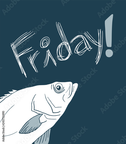 Fish and funny Friday message design