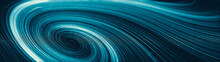 Abstract Creative Modern Ultra Wide Background. Neon Glowing Twisted Cosmic Lines. Beautiful Swirls, Bright Turbulence Curls. Smooth Astronomy Vortex Structure. 3d Rendering