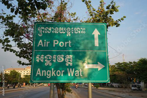 Fotografía  Siem Reap,Cambodia-Januay 9, 2019: A road direction sign on National Highway 6 i