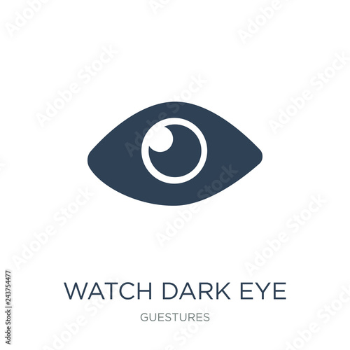 Fototapeta watch dark eye icon vector on white background, watch dark eye t