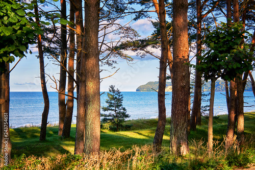 View from the promenade in Binz to the Baltic Sea and the cliff in Sellin. Pomerania, Germany