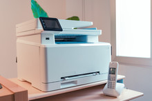 White Multi Function Color Laser Printer And Wireless Phone Terminal. Office Devices. WiFi Laser Printer.