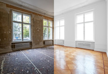 Flat Renovation, Empty Room Before And After Refurbishment Or Restoration