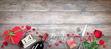 Valentines Day Banner - Glasses Bottle And Gift On Wooden Plank