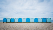Blue Beach Holiday House By The English Channel On Jurassic Coast In Charmouth, Dorset, United Kingdom, UK. British Summer Holidays, Hilly Countryside, Beach Summer Destination.