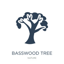 Basswood Tree Icon Vector On White Background, Basswood Tree Tre