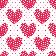 Red Large Hearts With White Dots On A Background With Red Dots. Vector Seamless Illustration Of A Repeating Pattern. Best For Cards, Backgrounds, Invitations, Packaging Design Projects.