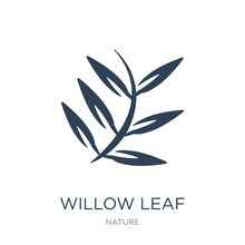 Willow Leaf Icon Vector On Whi...