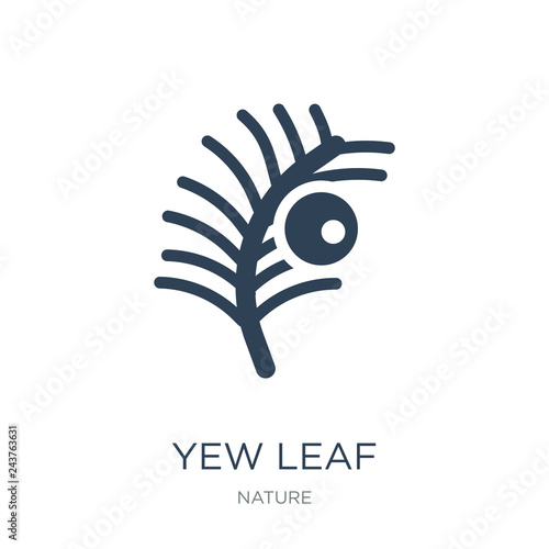 Fototapeta yew leaf icon vector on white background, yew leaf trendy filled