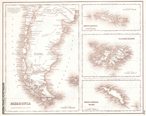 Photo  1855, Map of Patagonia, Argentina, Falkland Islands