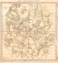 1856, Burritt, Huntington Map Of The Constellations Or Stars In July, August And September