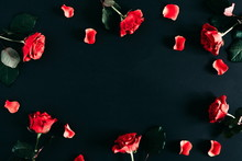 Flowers Composition. Red Roses On Black Background. Flat Lay, Top View, Copy Space