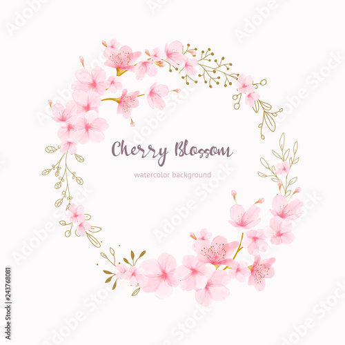 Papel de parede Cherry blossom frame Floral watercolor