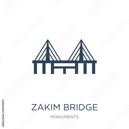 Photo  zakim bridge icon vector on white background, zakim bridge trend