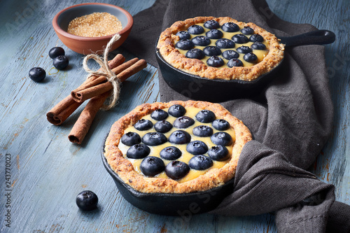 Canvas Print Delicious Blueberry tartlets with vanilla custard cream on light rustic backgrou