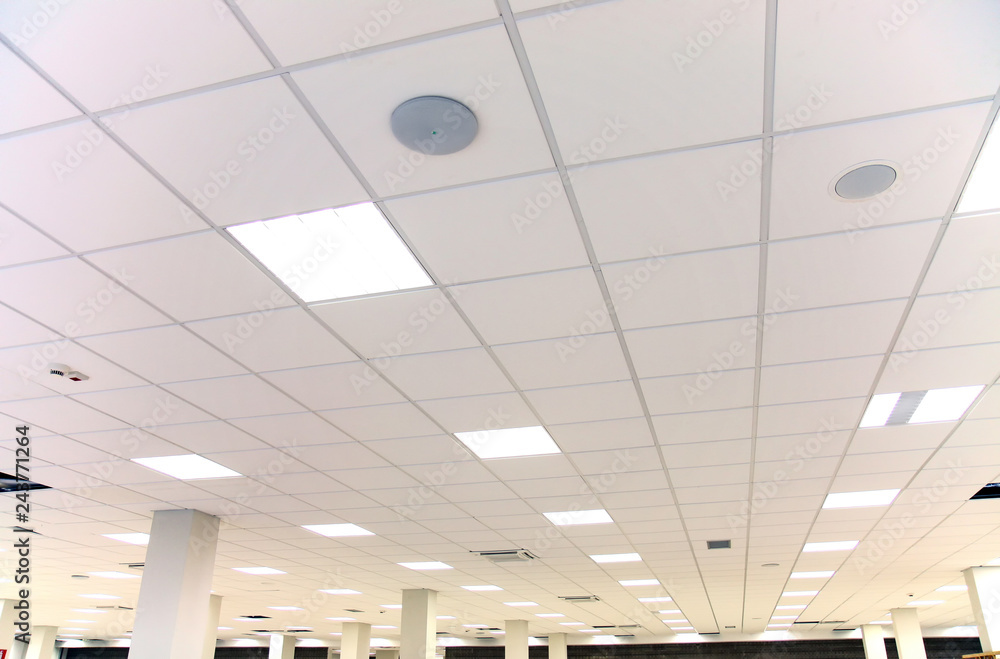Fototapety, obrazy: White office ceiling with white tiles and lighting