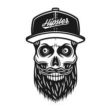 Bearded Skull In Baseball Cap ...