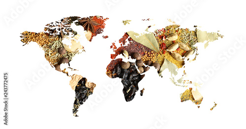 Fototapeta World map of different aromatic spices on white background. Creative collection obraz