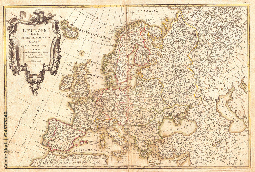 Fototapety, obrazy: 1762, Janvier Map of Europe