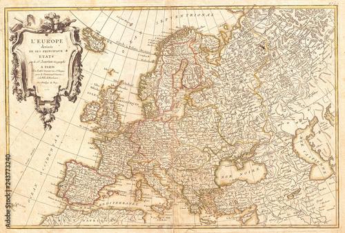 Fotografie, Obraz  1762, Janvier Map of Europe