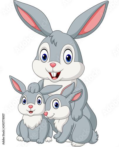 Fototapeta premium Szczęśliwa rodzina królików