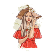 Portrait Of Fashionable Woman In Hat With Flowers. Beautiful Young Woman In Summer Clothes Covers Her Face With A Hat. Stylish Girl In A Hat. Hand Drawn Sketch. Vector Illustration Of Fashion.