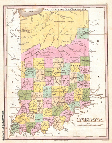 1827, Finley Map of Indiana, Anthony Finley mapmaker of the ...