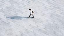 Top Aerial View Social Family And Friend People Walk On Across Pedestrian At Open Space Landscape.