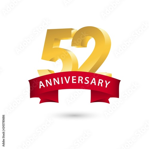 Photo  52 Year Anniversary Vector Template Design Illustration