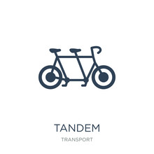 Tandem Icon Vector On White Background, Tandem Trendy Filled Icons From Transport Collection, Tandem Vector Illustration