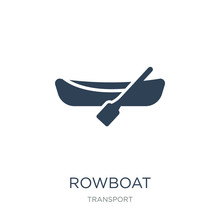 Rowboat Icon Vector On White Background, Rowboat Trendy Filled Icons From Transport Collection, Rowboat Vector Illustration