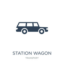 Station Wagon Icon Vector On White Background, Station Wagon Trendy Filled Icons From Transport Collection, Station Wagon Vector Illustration
