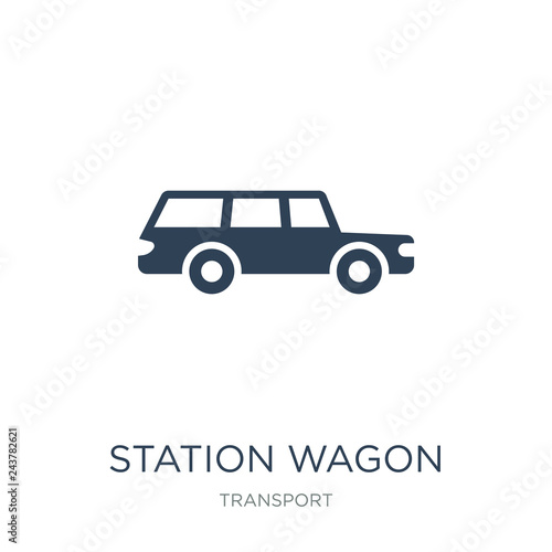 Fototapeta station wagon icon vector on white background, station wagon trendy filled icons