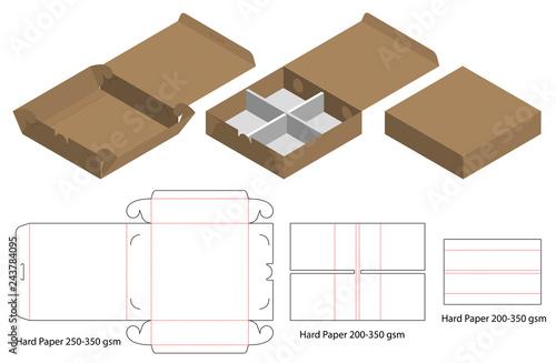 Carta da parati Box packaging die cut template design. 3d mock-up