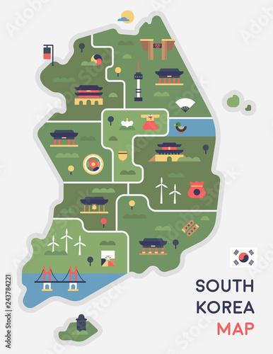 Foto  Korea landmark icon map